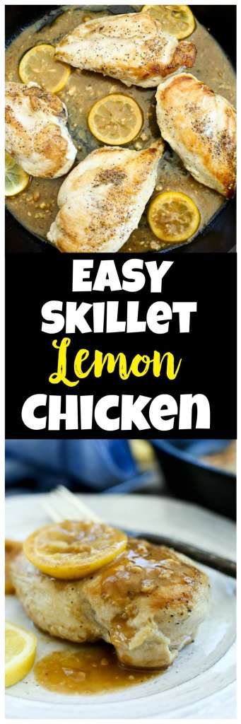 Easy and healthy dinner recipe! Easy Skillet Lemon Garlic Chicken recipe is low carb, Paleo, whole30, gluten-free, and so delicious. Family Favorite.
