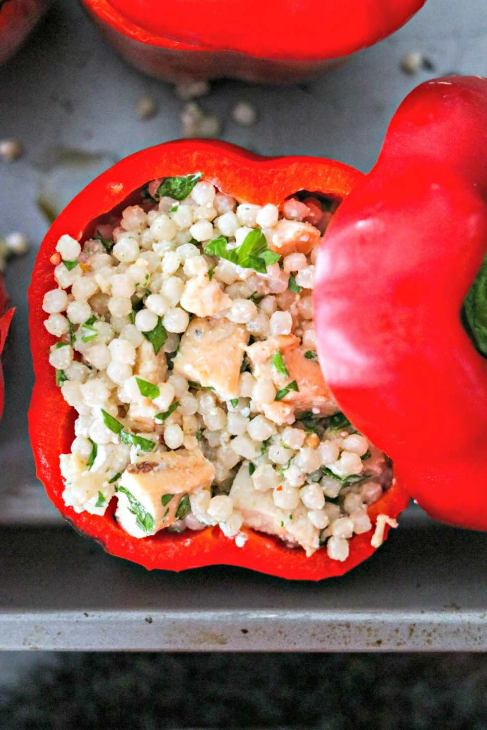 Bell Peppers Recipes--Chicken and Couscous Stuffed Peppers
