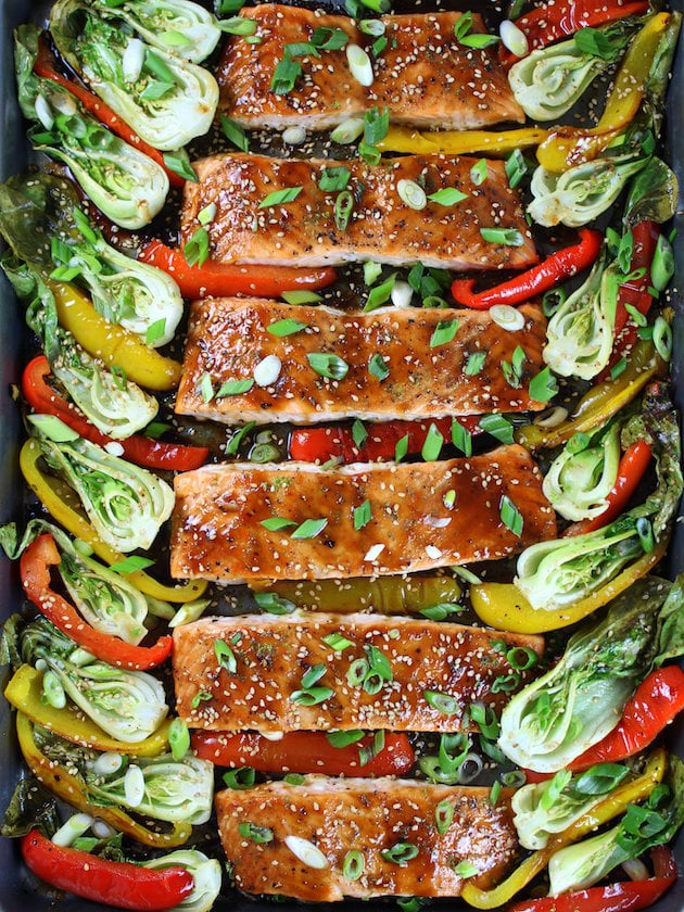 Bell Peppers Recipes: Honey-Lime Roasted Sheet Pan Salmon and Veggies