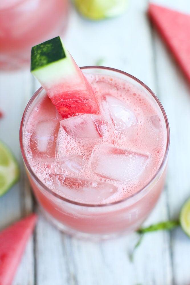 Overhead shot Watermelon Daiquiri with basil recipe