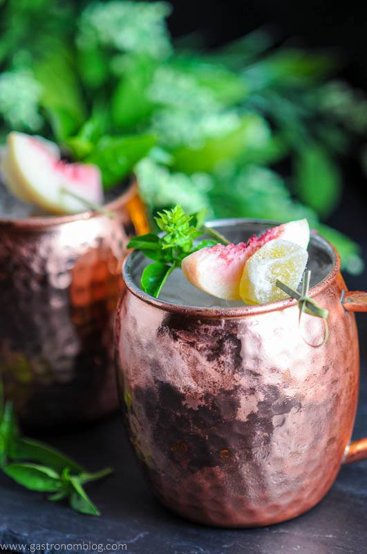 Creative Recipes that Use Basil-Peach and Basil Moscow Mules
