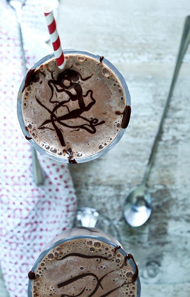 Top view of low calorie chocolate milkshake recipe