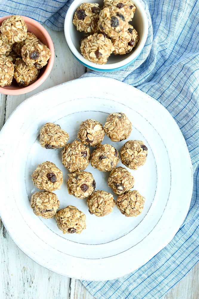 Oatmeal Cookie Energy Balls large plate of healthy snacks