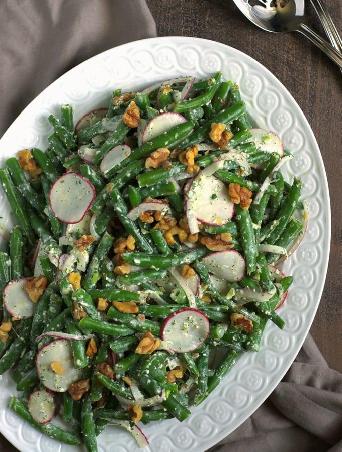 Green Bean Recipes-Green Bean Salad with Feta Dressing