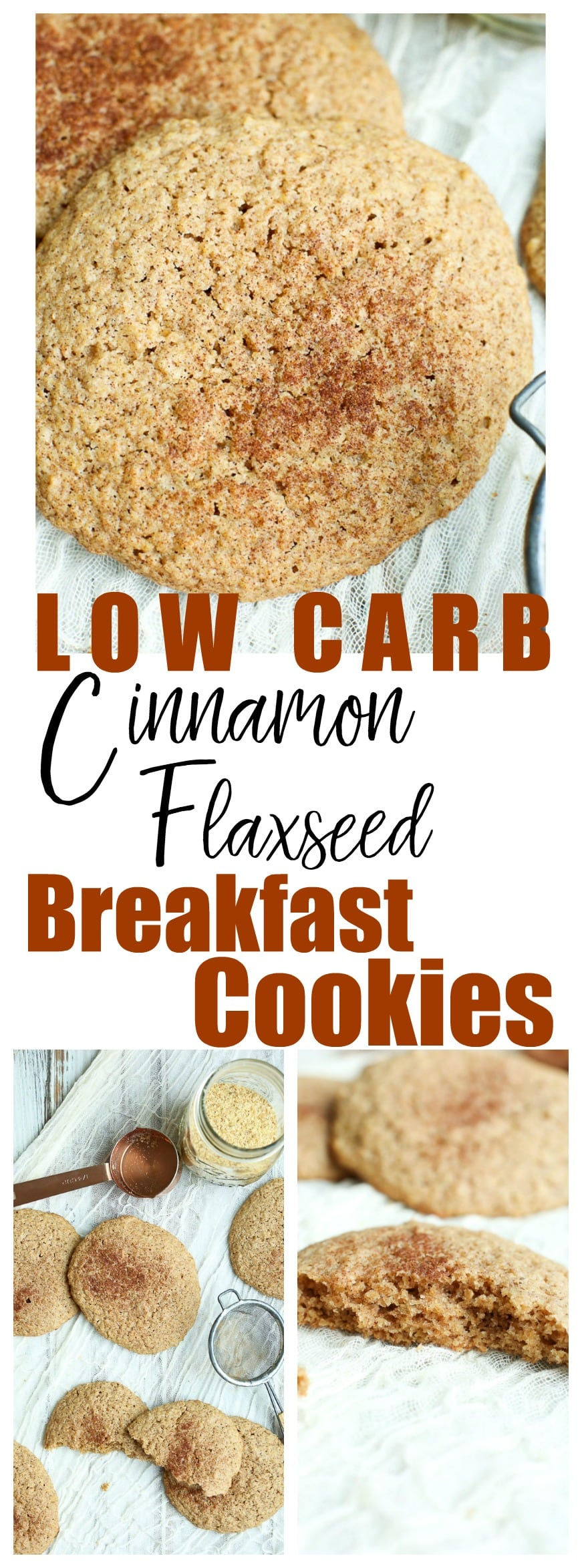 Low Carb Flaxseed Cinnamon Breakfast cookies. Healthy breakfast idea, gluten-free, easy