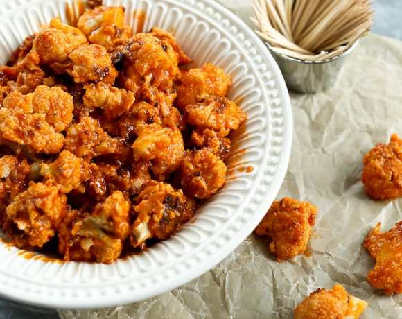 Buffalo Cauliflower Poppers healthy football food