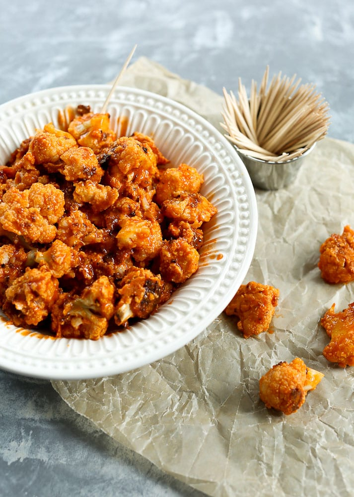 Buffalo Cauliflower Poppers healthy football food
