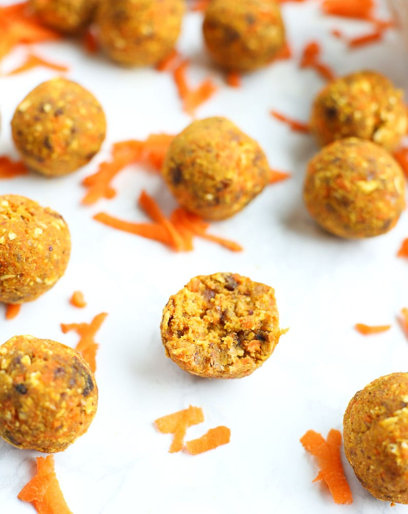 Carrot Cake energy Balls recipe with a bite out of it