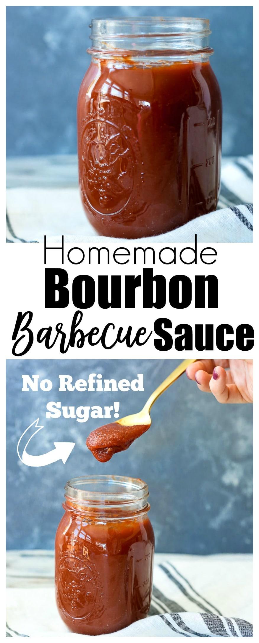 homemade healthier Bourbon Barbecue Sauce with no refined sugar.