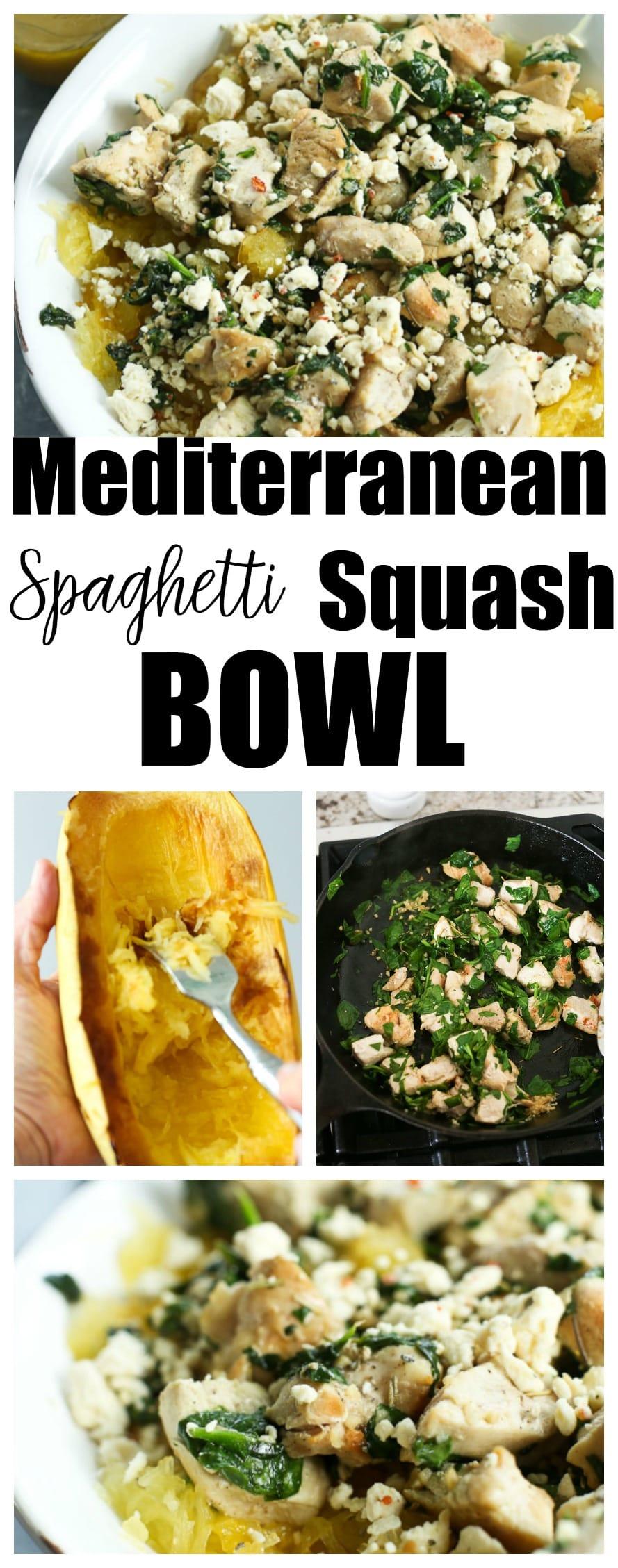 Mediterranean Spaghetti Squash Bowl Recipe. Healthy weeknight dinner idea! #glutenfree #healthyrecipes