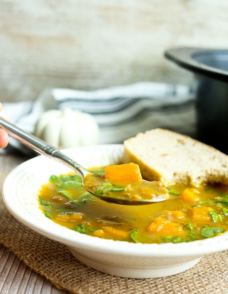 Slow Cooker butternut Squash Lentil Soup Recipe vegan and gluten-free