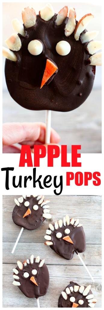 Chocolate Covered Apple Turkey Pops! Fun Thanksgiving turkey dessert for kids! #thanksgivingrecipes