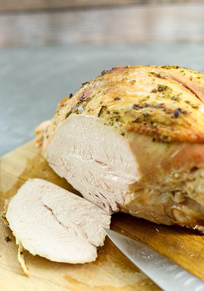 Butter Herb Roasted Turkey Breast one slice of juicy turkey