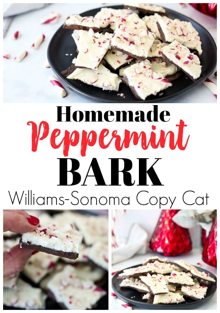 Homemade Peppermint Bark Recipe Williams-Sonoma Copy Cat #christmasrecipes #chocolate #peppermint