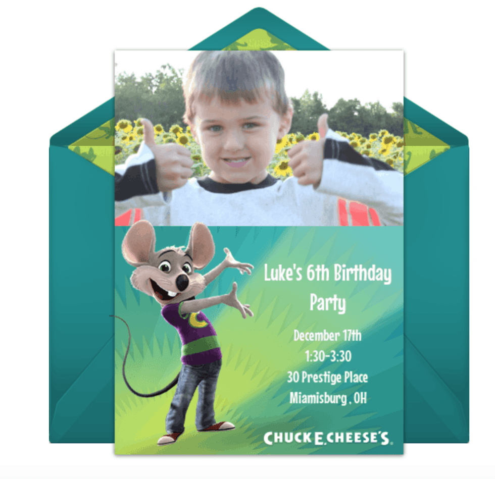 Luke's 6th Birthday Party at Chuck E Cheese's-email invitation