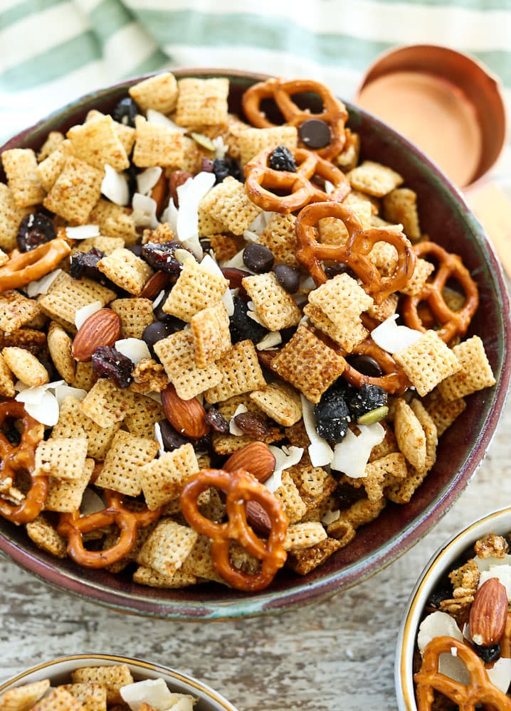 Sweet and Salty Chex Mix Recipe-large serving bowl with smaller bowls