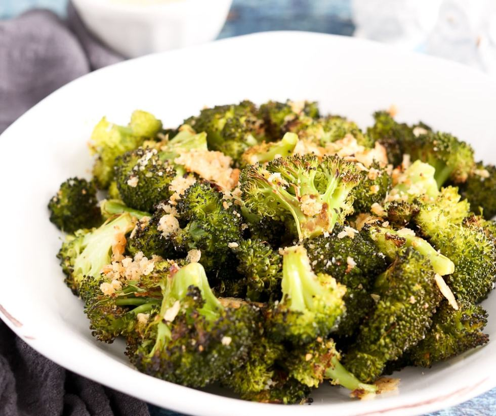 Crispy Roasted Broccoli with Parmesan in a white bowl