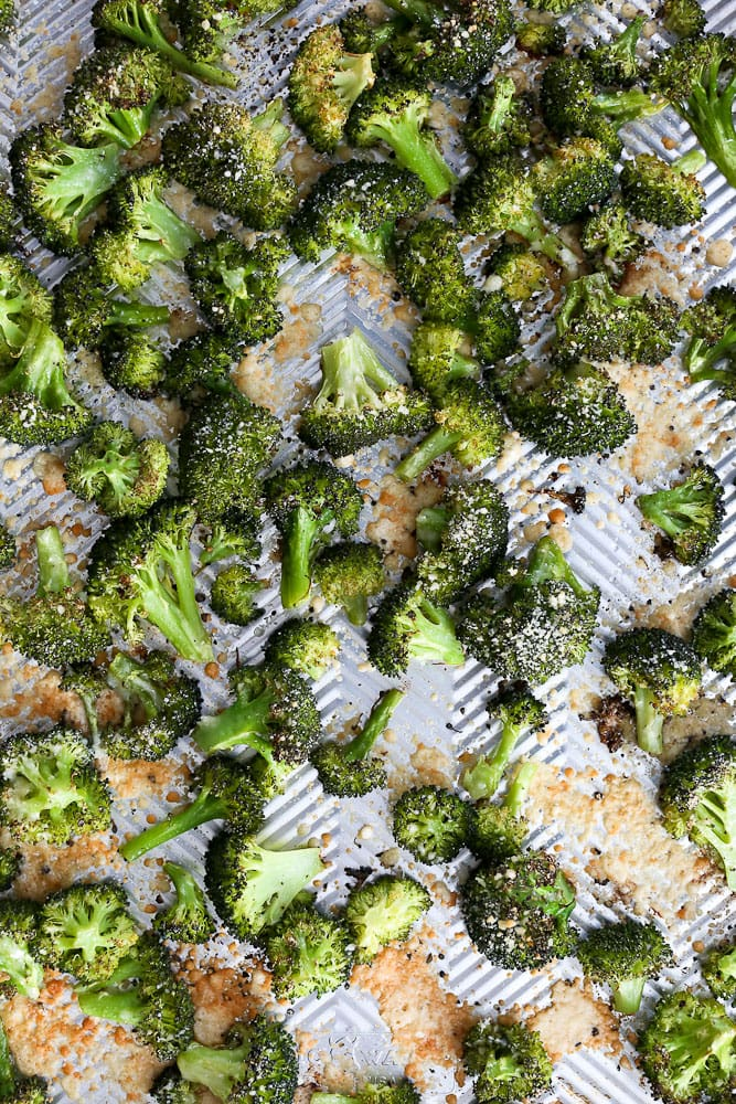 Crispy Roasted Broccoli with Parmesan recipe on the baking sheet