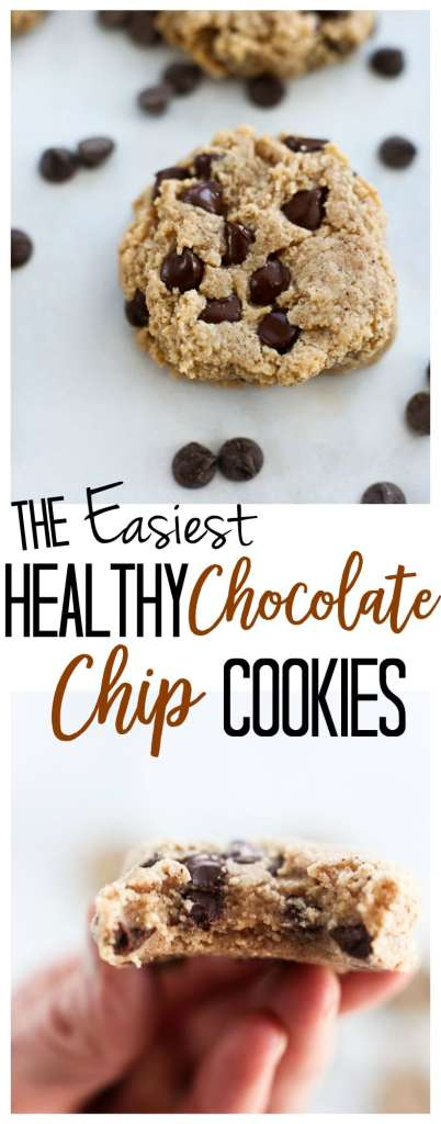 Healthy Chocolate chip Cookies recipe with almond flour #glutenfree #vegan #norefinedsugar #easy #healthy