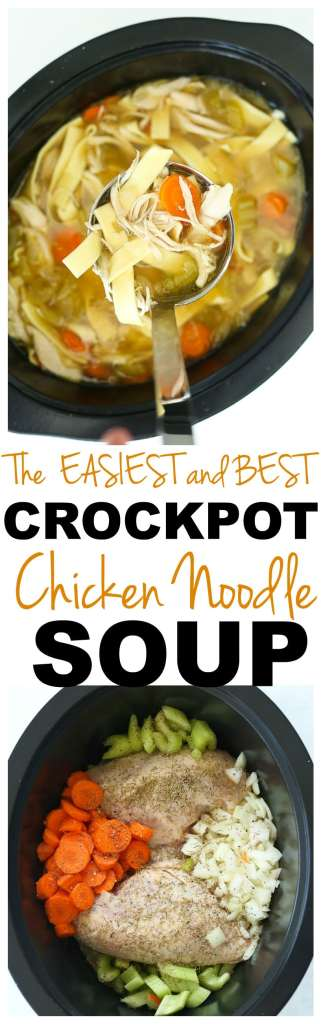 Crockpot Chicken Noodle Soup recipe #crockpot #chicken #easy #recipes #healthy #weeknightdinner #soup