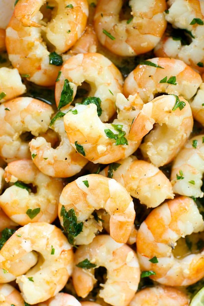 Shrimp Scampi Recipe-close up of cooked shrimp
