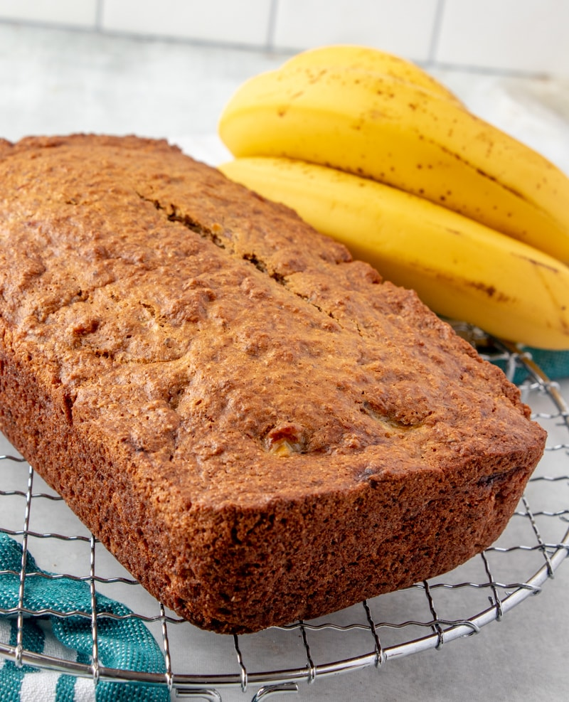 Vegan Banana Bread Recipe whole loaf unsliced