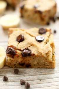 Banana Chocolate Chip Blondies recipe with chickpeas gluten free and vegan