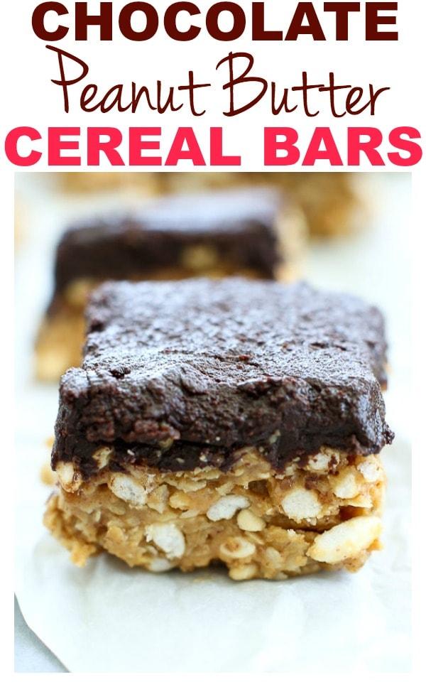 Chocolate Peanut Butter Cereal Bars #healthy #easy #glutenfree #healthyrecipes #vegan #dairyfree #dessert #peanutbutter #chocolate #healthydessert