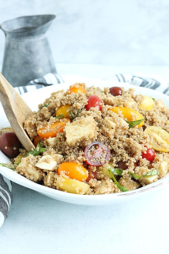 Quinoa Caprese Salad Recipe with fresh mozzar