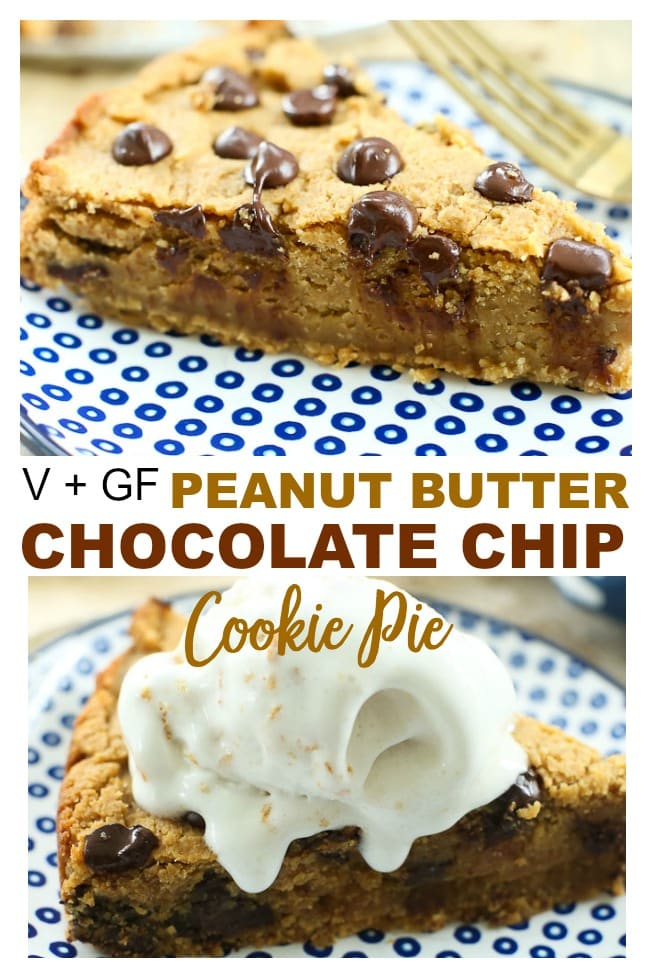 This is a vegan Peanut Butter Chocolate Chip Cookie Pie topped with So Delicious Dairy-Free Mousse! It is SO SO good, nobody will guess it's healthy!! #cookiepie #deepdish #chickpeas #healthy #recipes #dessert #glutenfree #vegan #dairyfree #easy #gooey #peanutbutter #chocolatechip #healthy #kids #parties