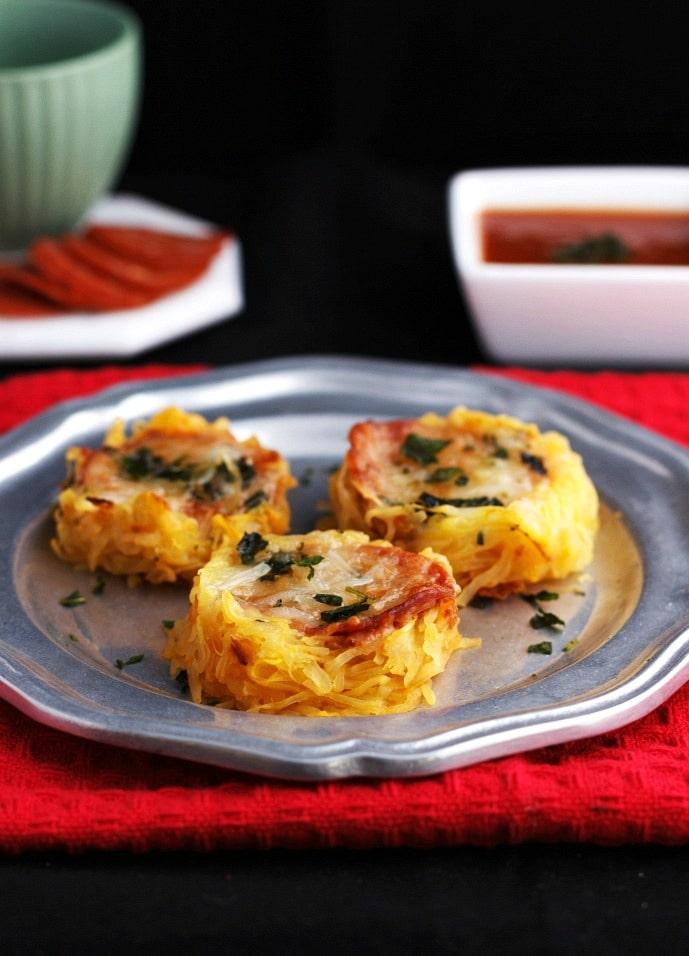 spaghetti squash recipes : spaghetti squash pizza nests