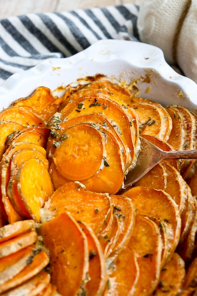 Sweet Potato Tian Recipe with parmesan cheese and fresh herbs