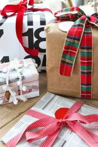 upcycled gift wrapping ideas paper bags, newspaper, catalog, and calendars