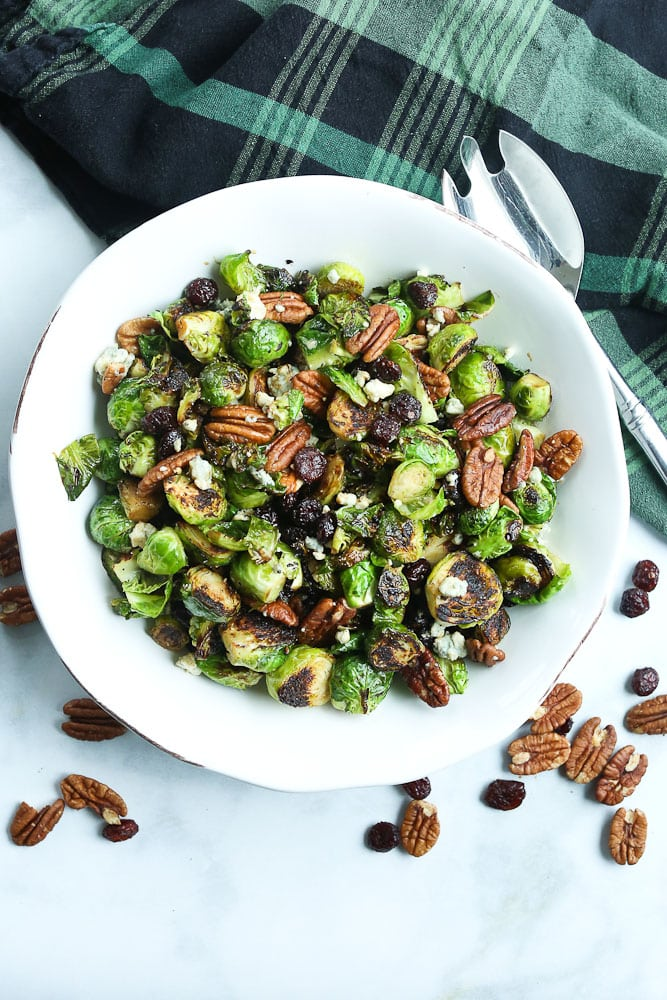 Sauteed Brussels Sprouts in a serving bowl