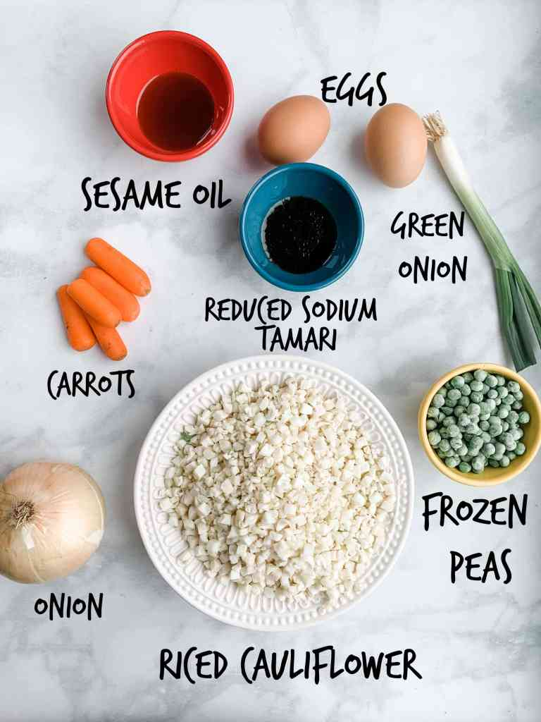 labeled ingredients on a white mat.