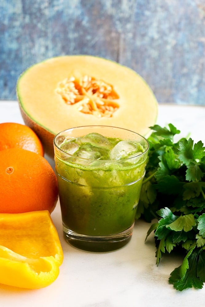 Vitamin C Juice with cantaloupe, parsley, orange, and yellow bell pepper