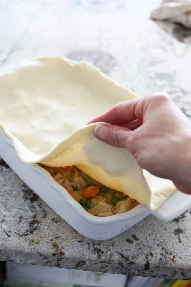 Dairy-free Chicken Pot Pie with puff pastry on top
