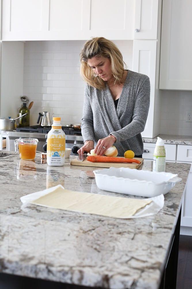 preparing Dairy-free Chicken Pot Pie recipe