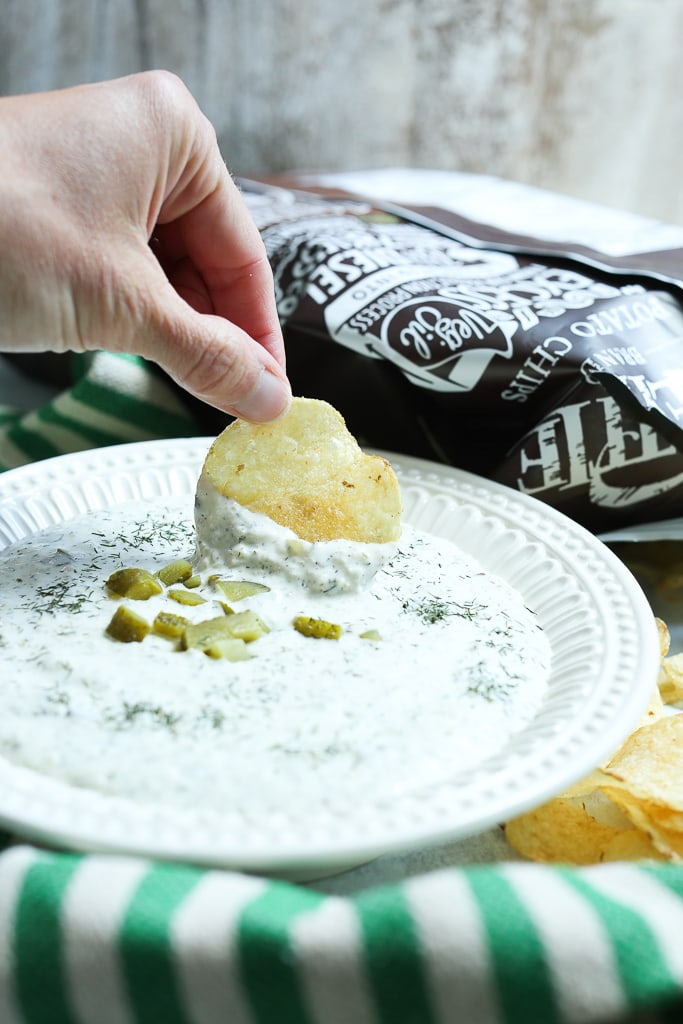 Dill Pickle Dip Recipe with potato chip