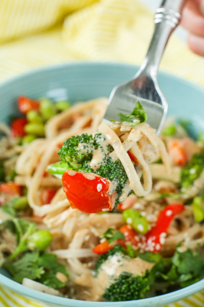 Vegetarian dinner recipes ideas== vegan asian noodle bowl close up shot with noodles on a fork