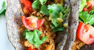 Cauliflower Tacos Recipe close up picture with hard shell