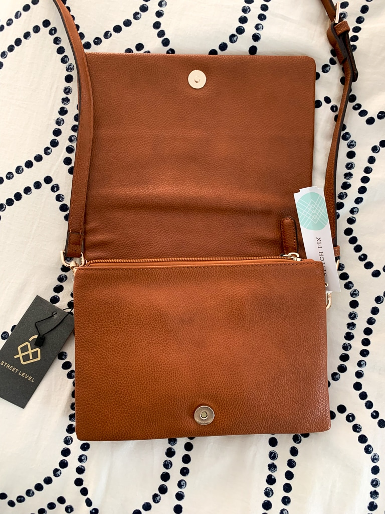 Street Level Fold Over Vegan Leather Crossbody Bag