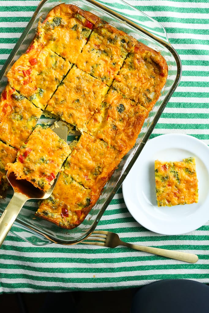 Easy Breakfast Egg Casserole whole pan one piece out