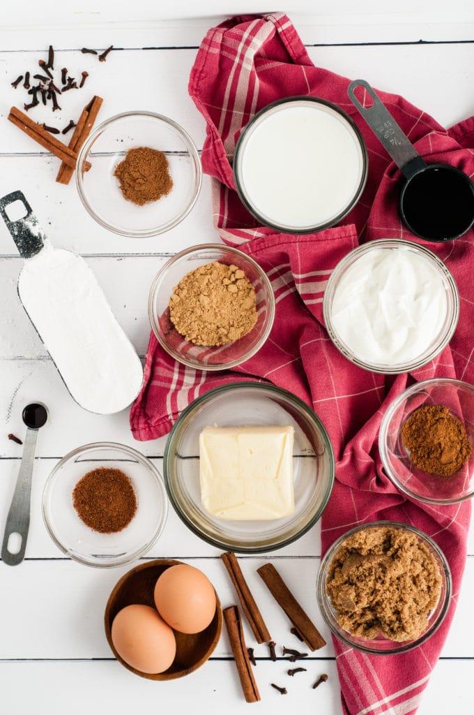 Gingerbread loaf ingredients
