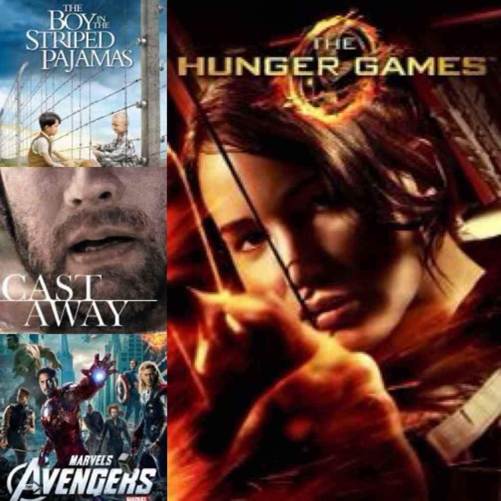 Collage of movie poster with the boy in striped pajamas, cast away, avengers, and hunger games