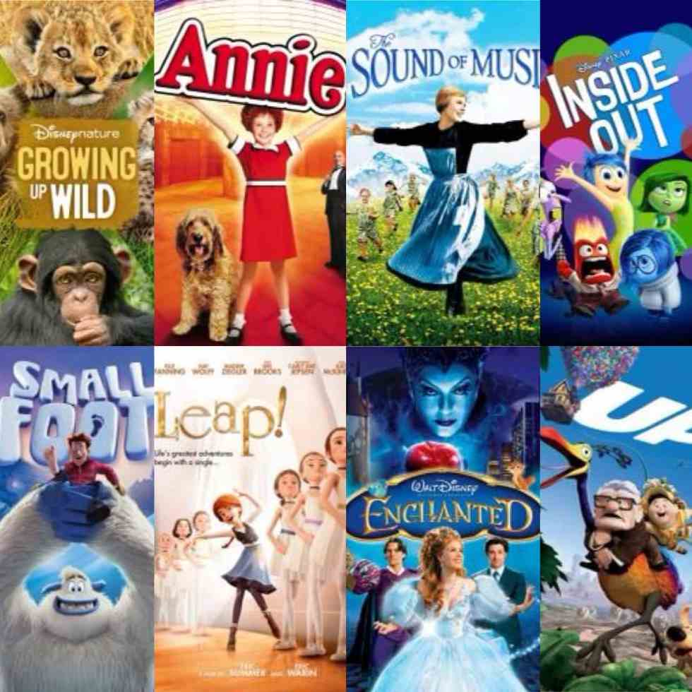A collage of movie posters with Growing Wild, Annie, Sound of Music, Inside Out, Small Foot, Leap, Enchanted, Up