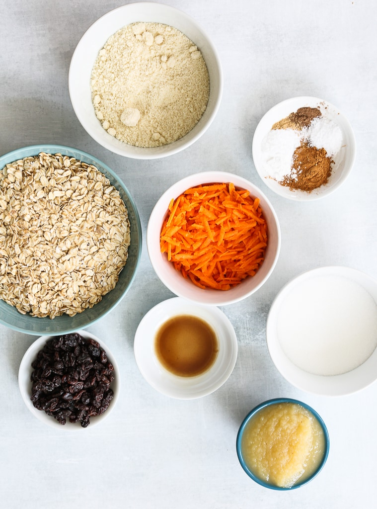 an overhead shot of recipes ingredients for carrot cake cookies