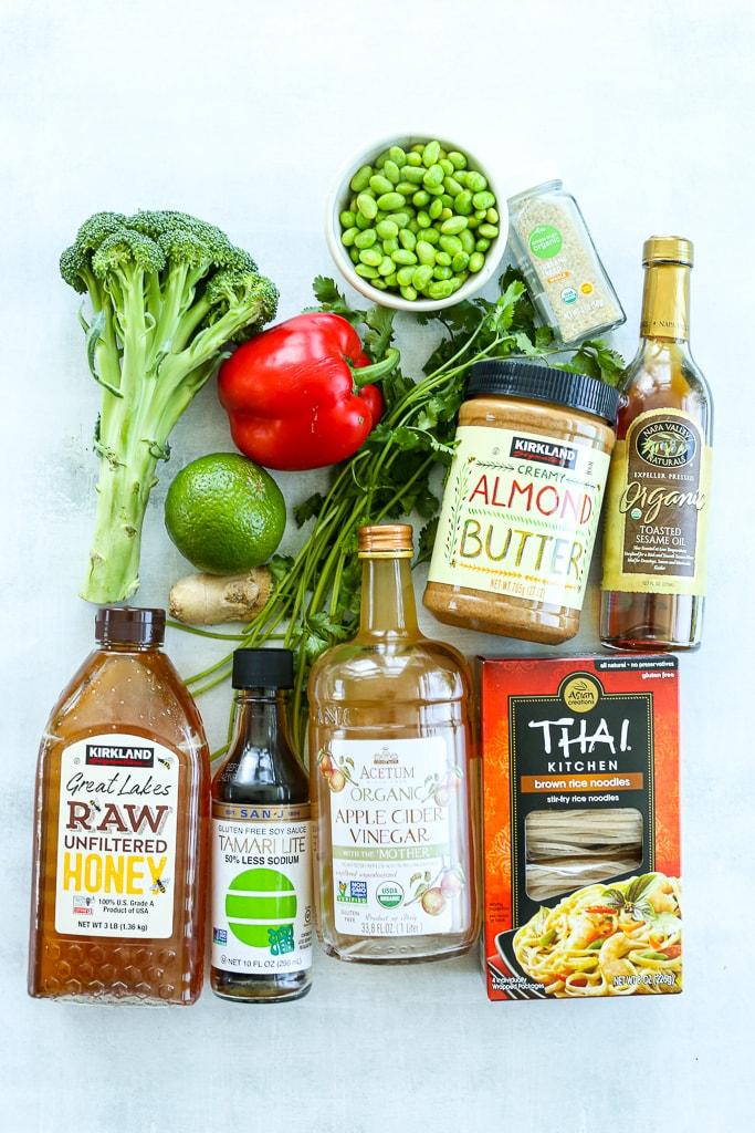 Vegan Asian Noodle Bowl Recipe Ingredients overhead shot