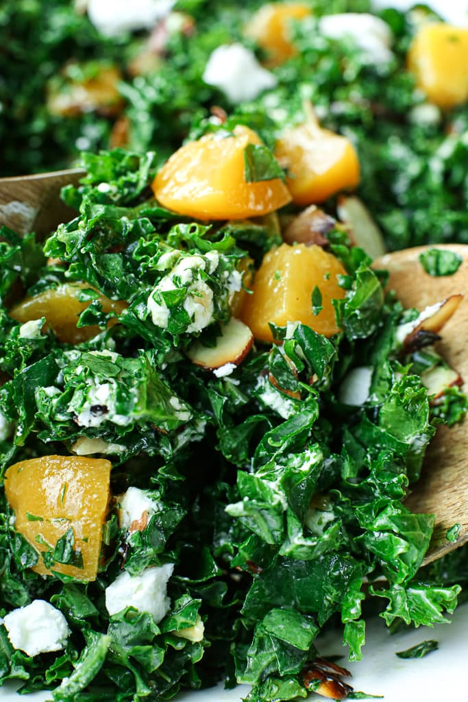 close up pic of easy kale salad