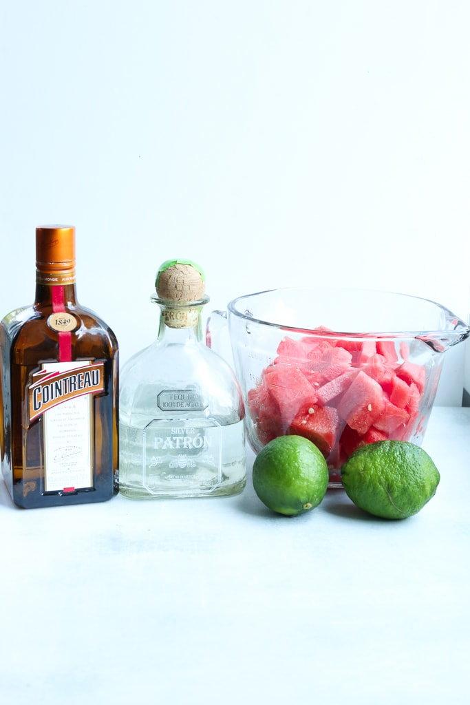 cointreau, silver tequila, watermelon cubes, and 2 whole limes
